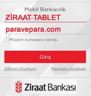Ziraat Mobil Tablet, ZİRAAT bankası tablet uygulaması, ziraat mobil tablet